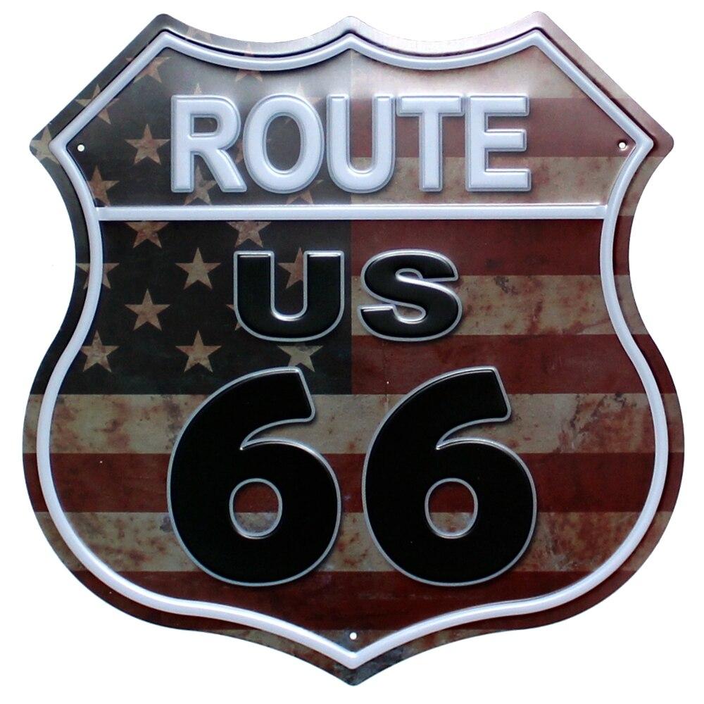 [Mike Decor] Route 66 lrregular signe peinture rétro cadeau Plaque murale hôtel chambre Bar maison décor YE-159 Mix commande