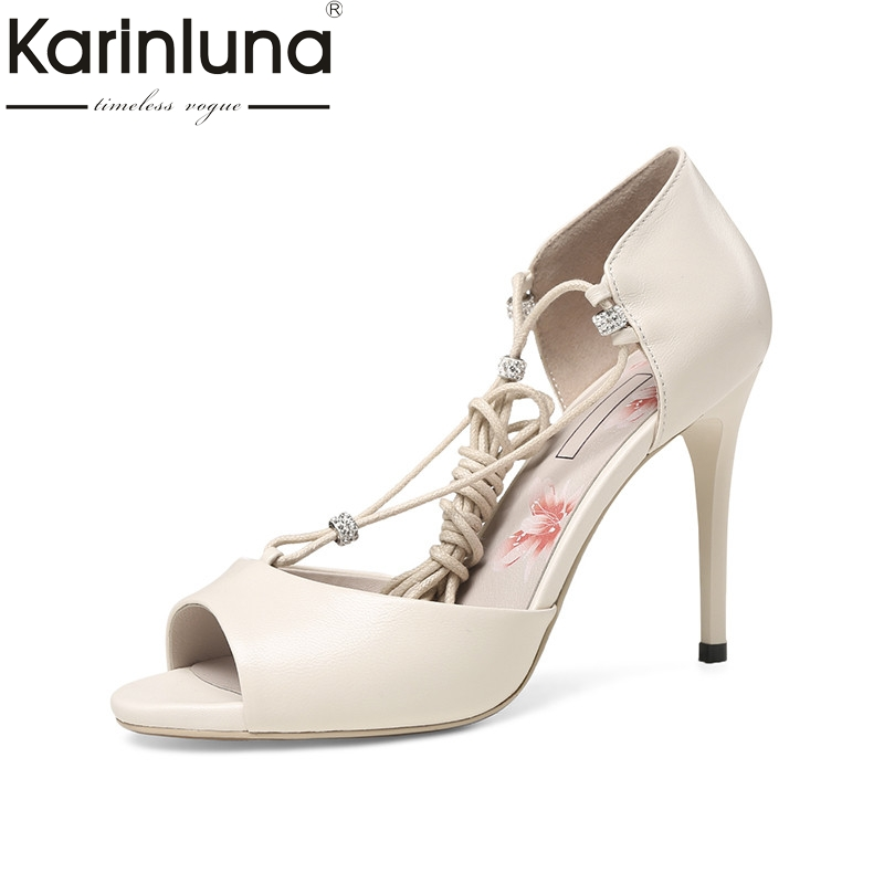 Karinluna 2018 Summer Fashion Kid Leather Women Ankle-Wrap Sandals High Heels Concise Shoes Woman Shallow Lady Footwear fashion design women full grain leather pumps summer ankle wrap cool high heels shoes for women closed toe women sandals