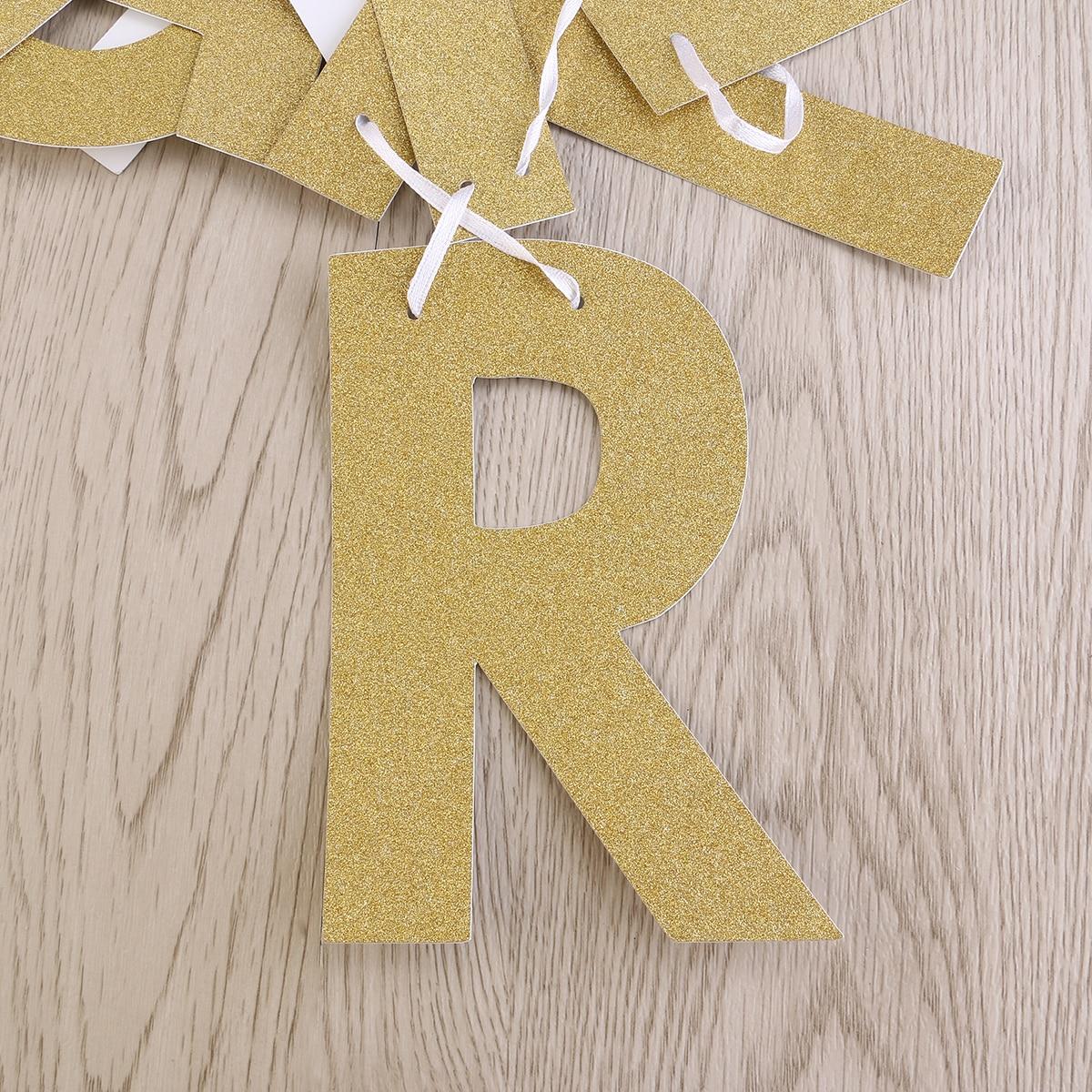 Feliz cumpleaños Banner Chic Glitter Decoraciones para fiestas de - Para fiestas y celebraciones - foto 3