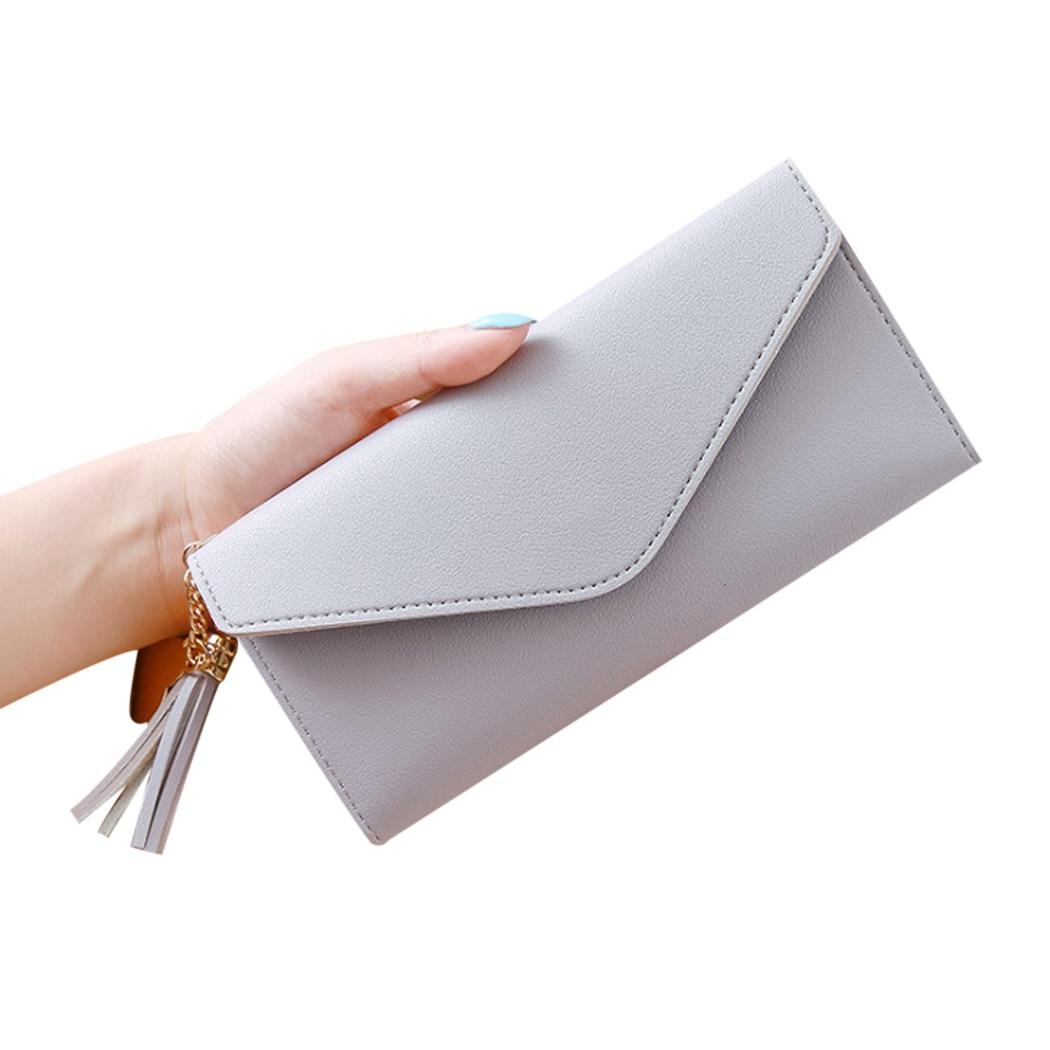 2018 Fashion Women Multi-functional Wallet Long Hand Holding Clutch Leather Trend Tassel Heart-shaped Pendant Simple Purses
