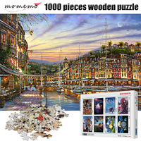 MOMEMO The Harbour Landscape 1000 Pieces Puzzle Adults Wooden Puzzle Jigsaw Puzzles Assembling Puzzles Toys with Box Packing