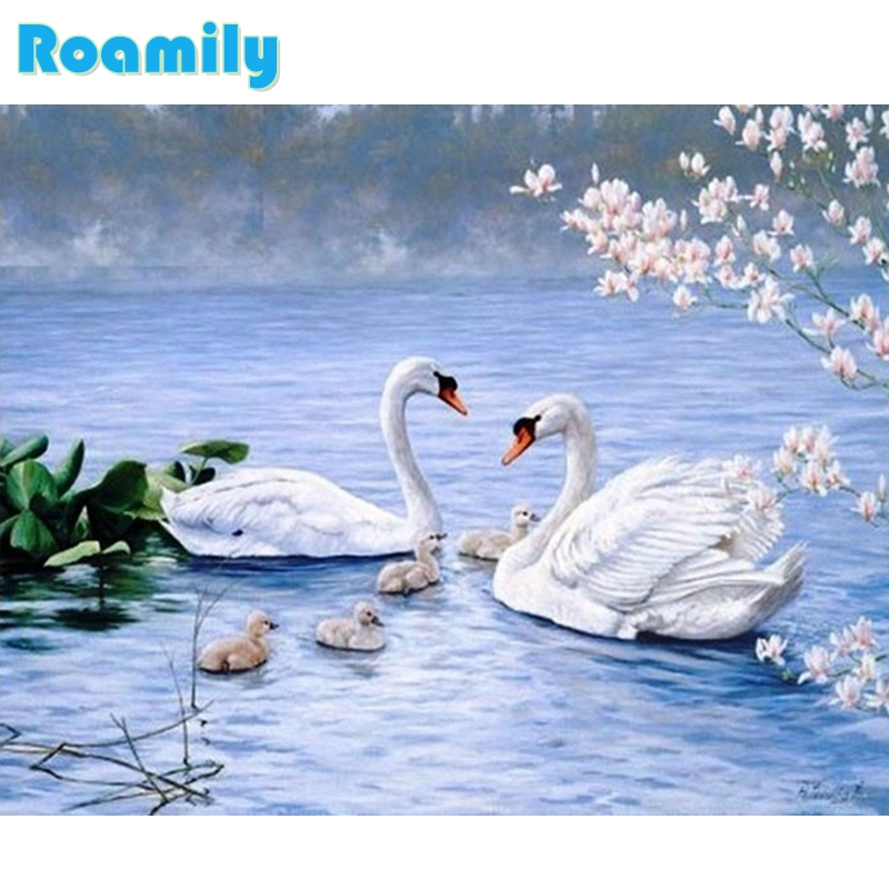 Diamond Painting Full Square,Swan In River In Spring,Picture By Rhinestones,Daimond Painting,Room Decoration,Dekoration