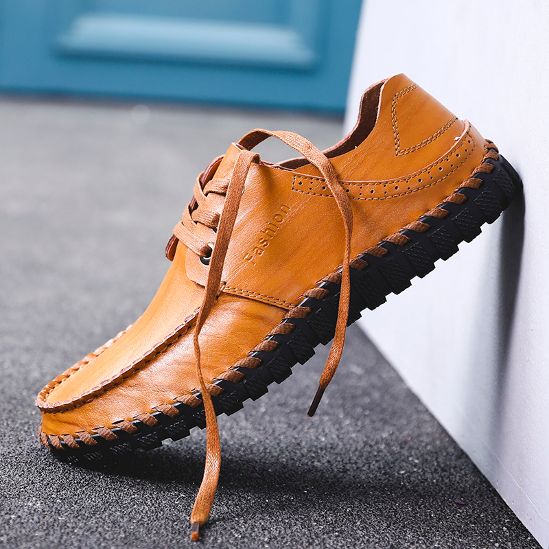 Men Shoe Mens Leather Shoes High Quality Lace Up Fashion Design Man Flats Soft Comfortable Men's Shoes Brown Loafers