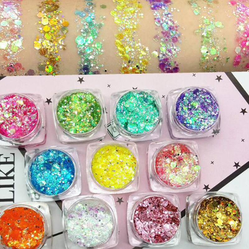 Eye Glitter Nail Hair Body Face Glitter Gel Mermaid Flake Art Flash Heart Loose Sequins Cream Festival Glitter Decoration Party