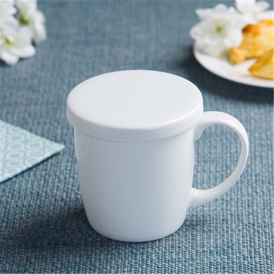 White Ceramic Coffee Mug Cup Gift With Lid Fincan Art Supplies Fincans Cup Tea Tumbler Brief Porcelain Mugs Cup Stocked DDQ228