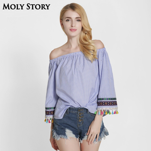 1781f60b5c76c6 2017 Sping New Sexy Off Shoulder Blouse Tassel Blue Striped Shirt Cute Top  Strapless Embroidery Boho Tops Plus Size