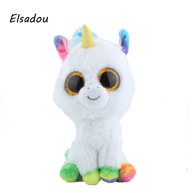 Elsadou Ty Beanie Boos Stuffed & Plush Animals Colorful White Unicorn Toy Doll