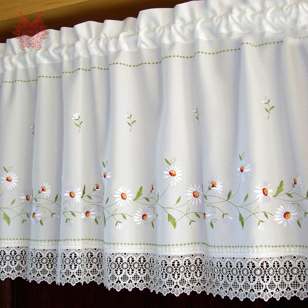 New Fashion White With Floral Embroidery Half Curtain Lace