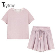цена на Trytree Women Summer top two piece set Casual Fashion tops + shorts Top Female Office  Polyester Suit Set O-Neck 2 Piece Set
