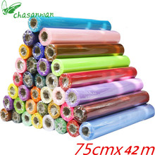 CHASANWAN 42meter/lot Sheer Crystal Organza Tulle Roll Fabric for Wedding Party Decoration or New Year Decoration.Width 75CM.