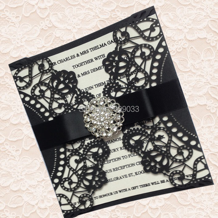 Diamante Embellished Black Doily Laser Cut Wedding Invitations In Cards From Home Garden On Aliexpress Alibaba Group