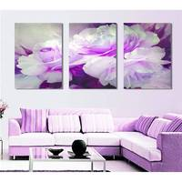 Free Shipping 3 Piece Wall Art White Purple Lover Flower Big Perfect Canvas Wall Art On Canvas Picture Modern Picture Home Decor