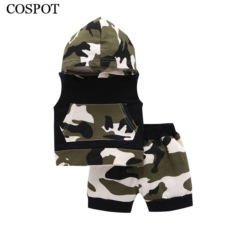 COSPOT 2018 New Baby Boys Clothing Set Summer Short Sleeved Hooded Suit Boys Clothes 2Pcs Sets Hoodies+Shorts Camouflage Set 35C
