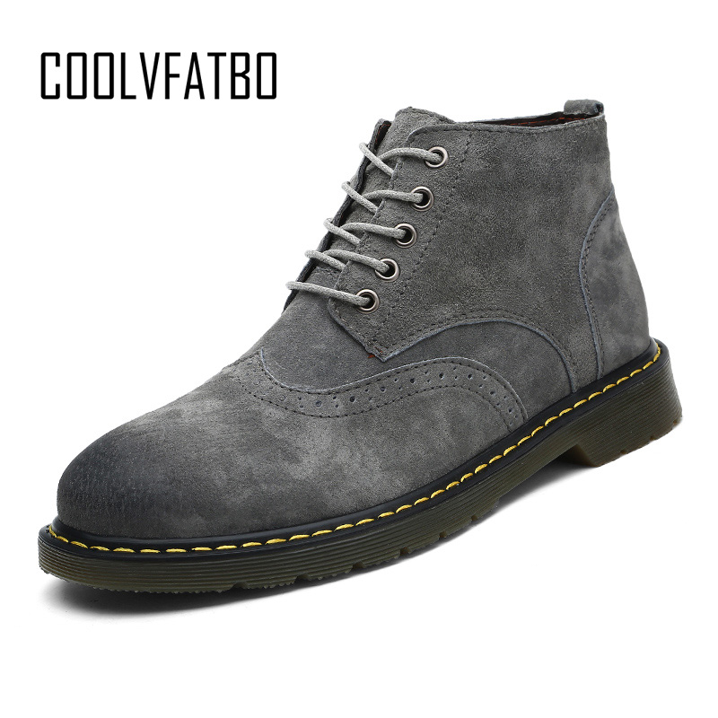 COOLVFATBO PU Leather Men Chelsea Boots Breathable Outdoor Casual Men Winter Shoes  Men Leather Boots High Top Shoes Botas Homme tênis masculino lançamento 2019