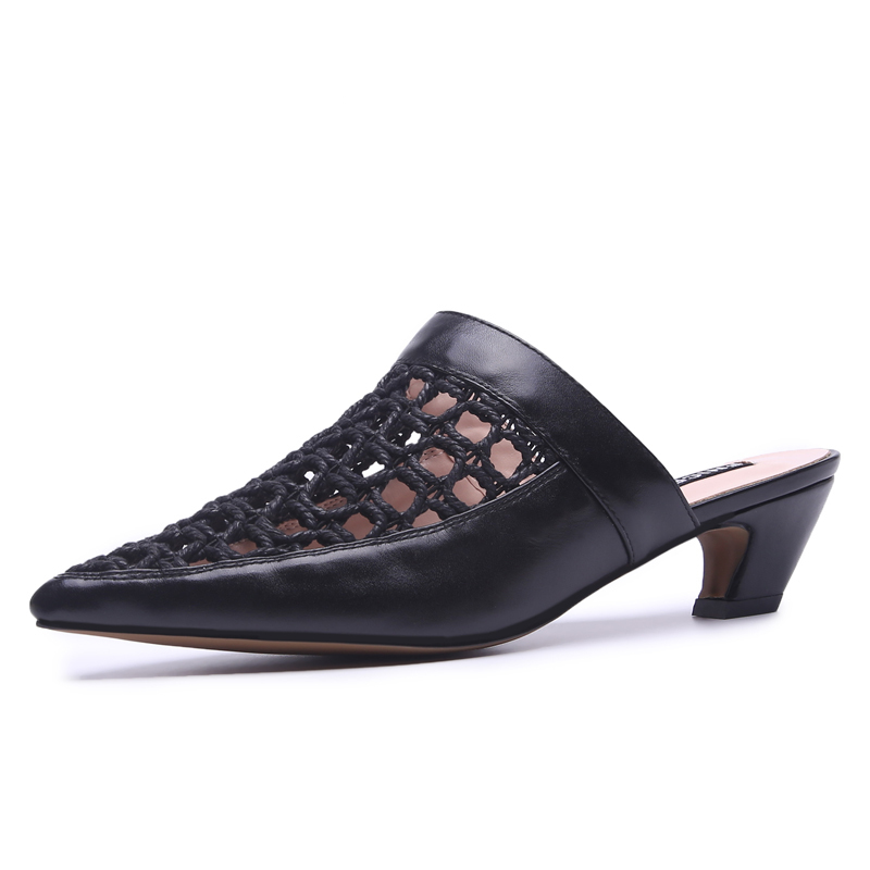 Sexy Hollow Women Mules 5 CM Chunky Heels Pointed toe Genuine Leather Woman Slippers Summer Party Pumps Box packing 5562