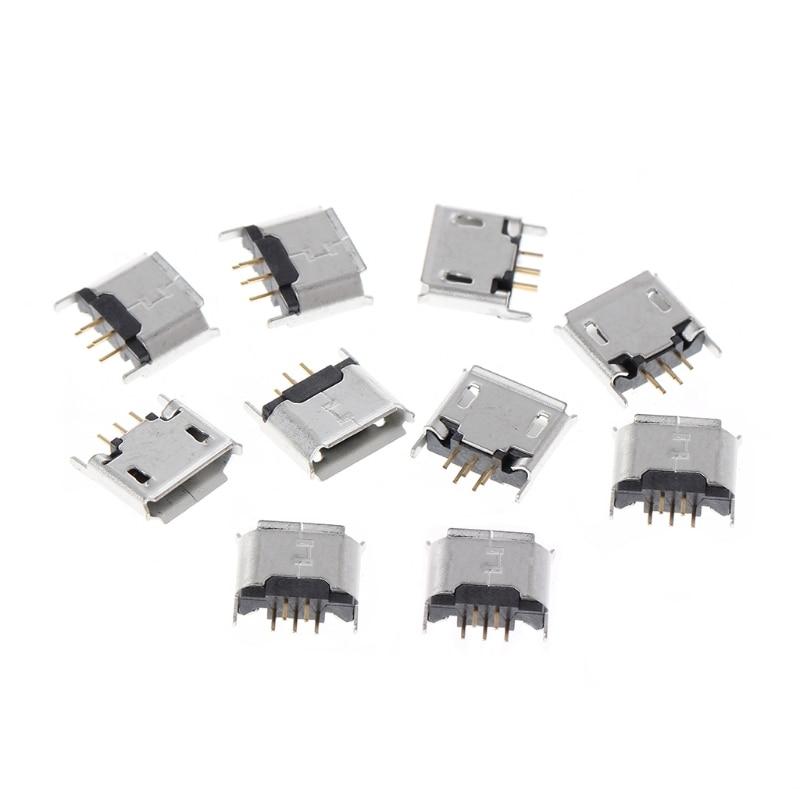10Pcs Female Mini USB Type B 5-Pin SMD SMT Socket Solder Jack Connector