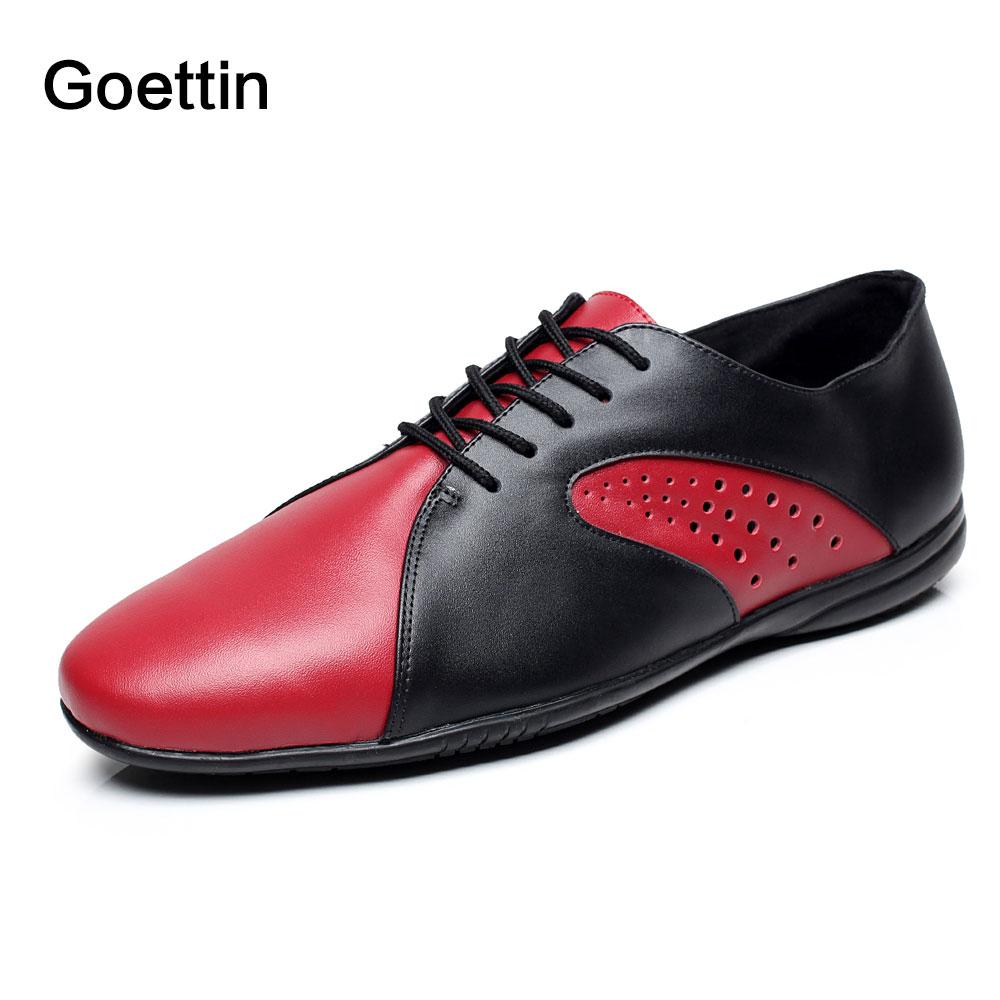 Nieuw merk Goettin 9017 rubberen zool Zwart Rood Echt leer Latin dansschoenen heren Moderne dansschoenen met platte hak