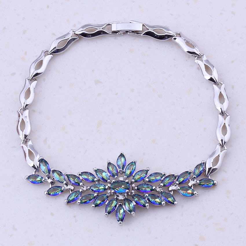 Classic Blue Rainbow Mystic Crystal Silver Plated Color Trendy Charm Bracelets Women Party Fashion Jewelry Free Shipping D0077