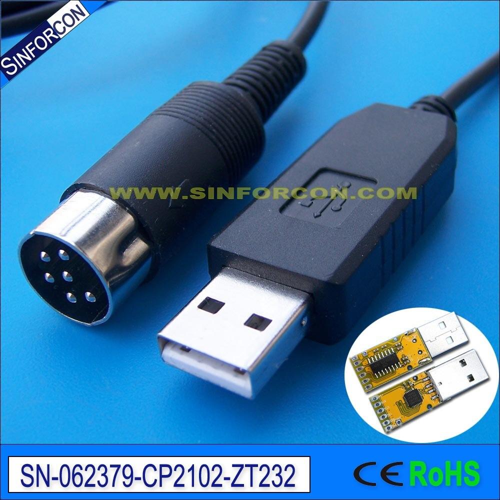 CP2102 usb rs223 adaptateur câble avec DIN 6 P mâle usb chat câble de commande pour kenwood ts-450s ts690 ts 790 ld-150