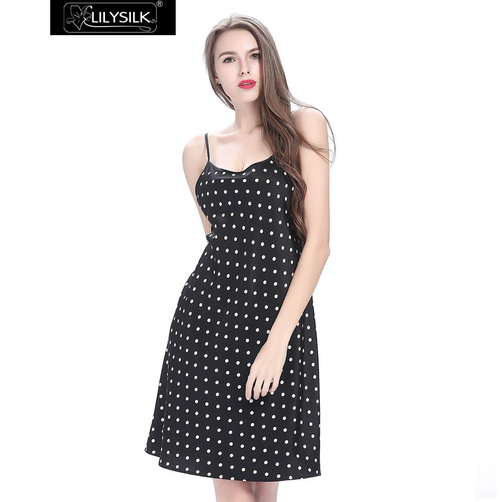 black-19-momme-short-silk-nightgown-with-white-dots-03