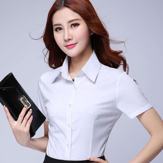 Summer Chifffon Plus Size Short Sleeve Shirt Women Coat Work Wear Formal Half White