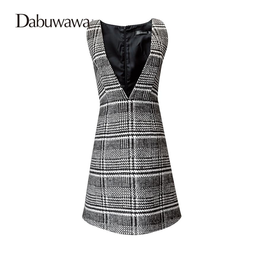 Dabuwawa Black White Plaid V Neck Autumn And Winter England Style Suspender Skirt Vintage A Line Skirts dabuwawa woolen a line deep v split high waist plaid pleated skirt elegant suspender skirt sleeveless jumper skirts d17cdx009
