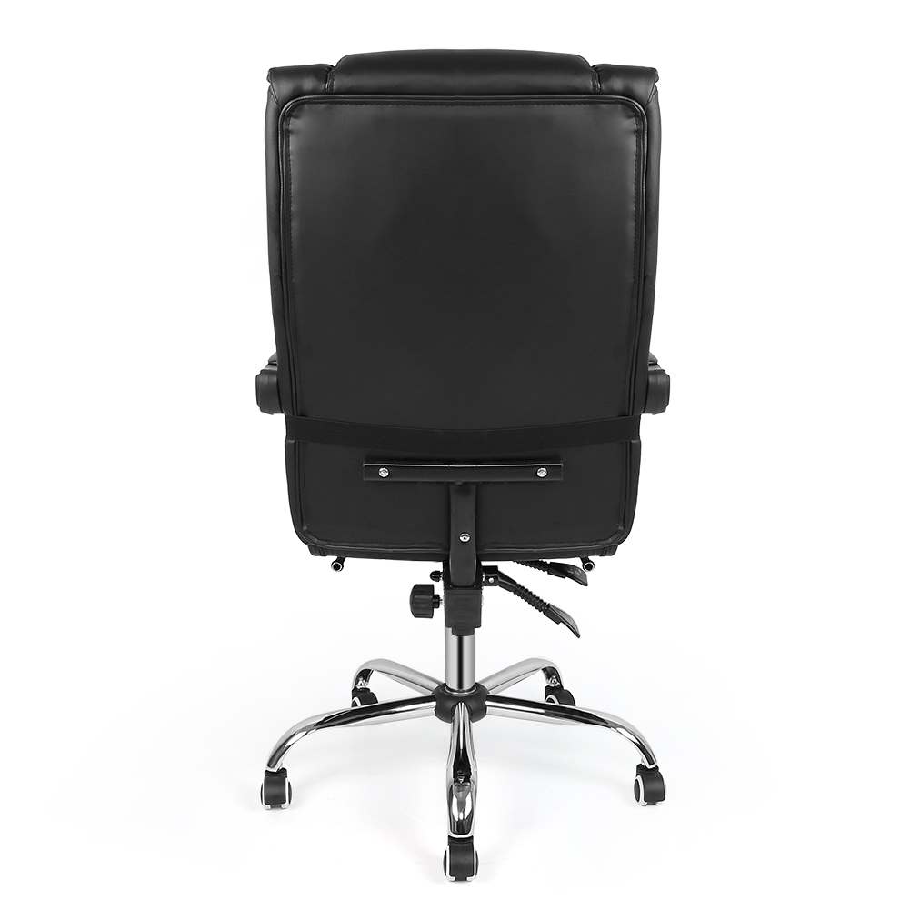 Black Leather Computer Desk Chair Office Chair Recliner Executive Chair Swivel Adjustable Gaming Racing Chair With Footrest HWC
