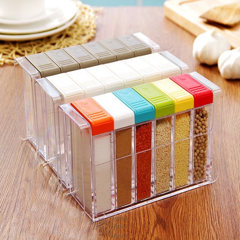6pcs Set Acryl Spice Container Salt Pepper Seasoning Spice