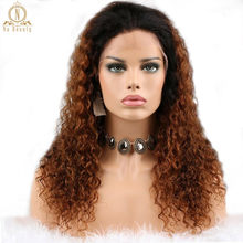 360 Lace Frontal Wig 1B 30 Ombre Deep Curly Lace Front Human Hair Wigs Pre Plucked With Baby Hair Full End Remy Black For Women(China)