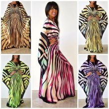 H&D African Dress for women 2018 fashion zebra Stripe print Dress plus size free size maxi Dress long Robe Africaine vetsido plus size zebra stripe swing high low dress