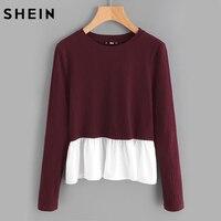 SHEIN Burgundy Contrast Frill Trim Rib Knit T Shirt Womens Long Sleeve T Shirt Tops Casual