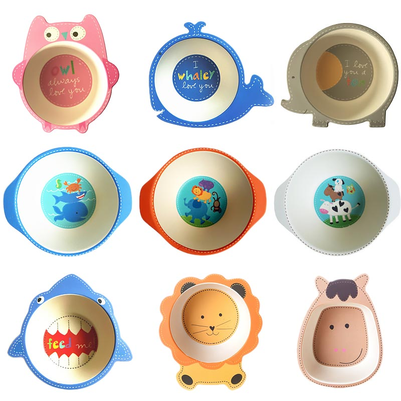 Natural Bamboo Fiber Bowls Cute Cartoon Baby Dishes Baby Feeding Tableware Children Infant Toddler Portable Environmental Plate
