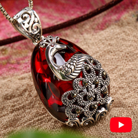 NOT FAKE S925 Fine Jewelry Ruby Pendant for Necklace Women Handmade Vintage Natural Carnelian Retro Semi Ruby Red jasper Red