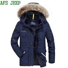 AFS JEEP High quality Keep warm soft hair arrival men Thicker coat Duck hair fine men jacket cotton coat jacket men parka 370