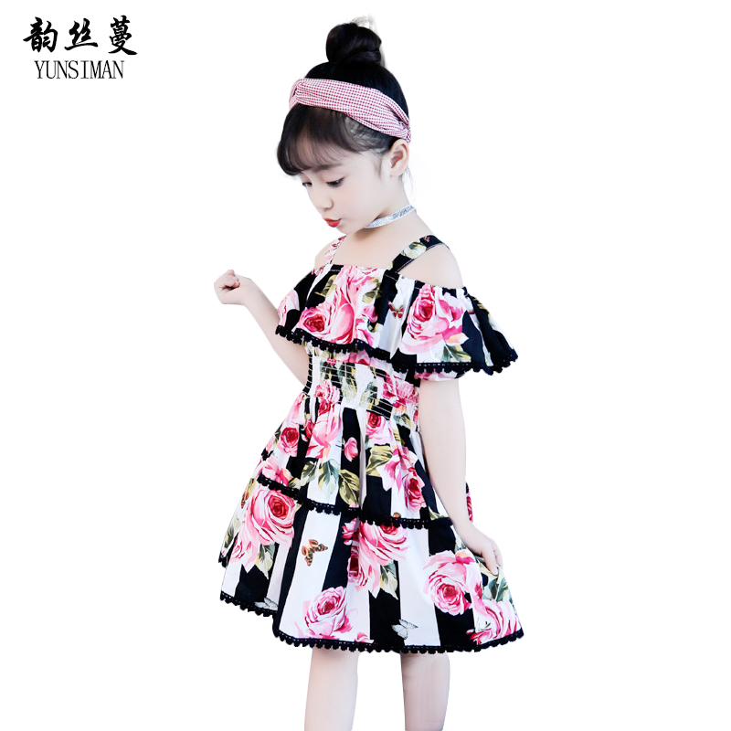 Fashion Baby Girls Clothes Flower Kids Dress for Girls 6 7 8 9 10 11 12 Years Floral Rose Print Cotton Girls Party Dresses 5C40 girls dresses fruit design pineapple orange dress summer kids clothes flower print for kids age 5678910 11 12 13 14 years old