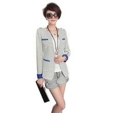 Nice Arrival Nice Striped Women Long-sleeve Suit Blazer Women Fashion Slim Fit Blazer Suit Jacket Black White Striped  Female