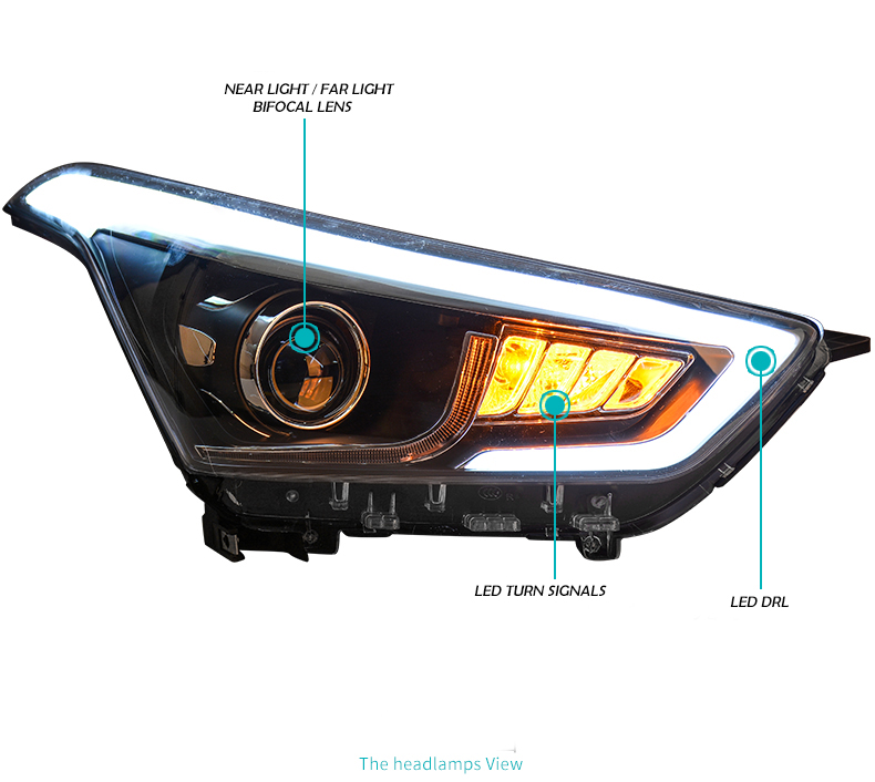 Car headlightHead Lamp case for Hyundai Creta Headlights 2015 2016 IX25 LED Headlight DRL H7 D2H Hid Option Angel Eye Bi Xenon-in Car Light Assembly from Automobiles & Motorcycles    3