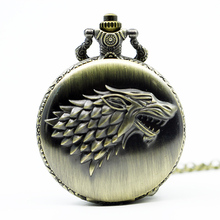 Retro Bronze Game Of Thrones Stark House Pocket Watch Necklace Wolf Quartz Fob Antique Clock Chain Pendant For Men Women Gift