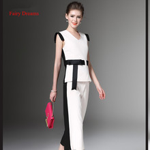 Fairy Dreams Two Piece Set Women's Suits Bow White Tops And Pants Casual Trousers Office Ladies Fashion Plus Size Clothing XXL