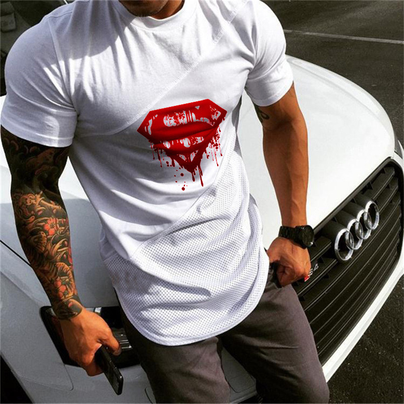Superman Sport T Shirt Men Cotton Patchwork Mesh Mens Running T-Shirt Sportswear Bodybuilding Fitness Shirt Slim Fit Gym Tshirt