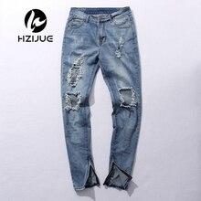Kpop тощий ripped корейской hip hop мода брюки прохладный мужская городская одежда комбинезон мужские джинсы