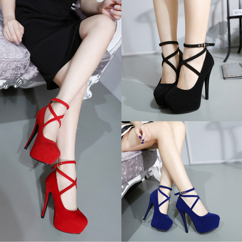 70a9705714 Women Pumps Suede Solid Colors Platform Shoes 2018 Thin High Heels Femme  Sexy Pumps Party Shoes Large Size 34-42 Red Black Blue