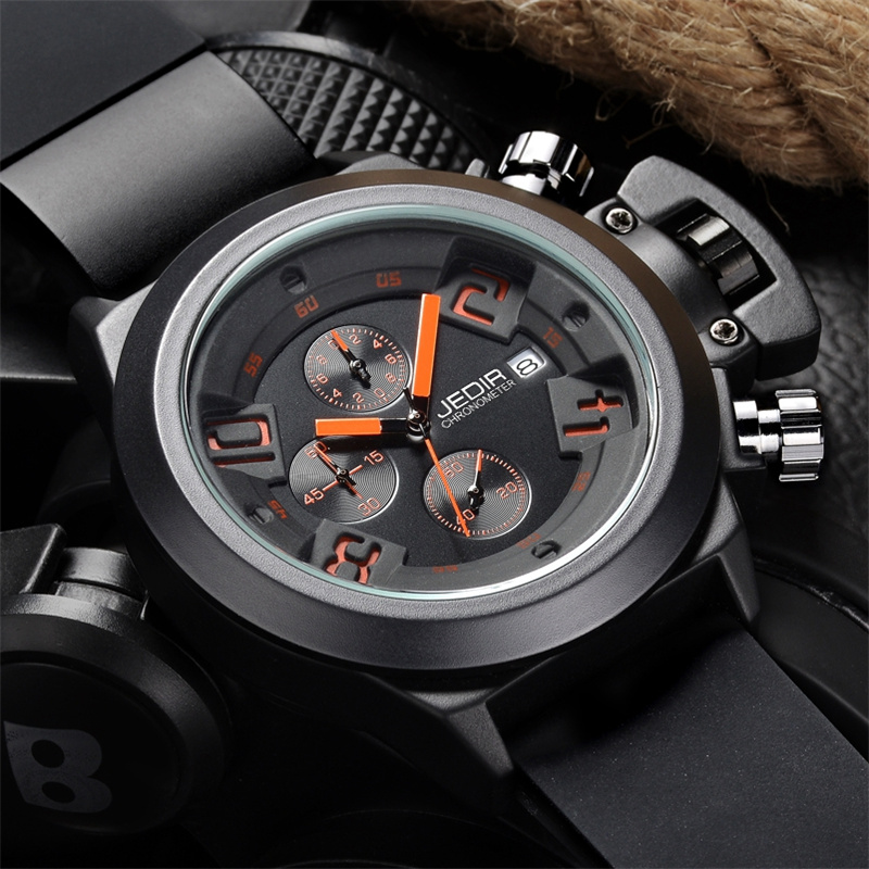 JEDIR CHRONOGRAPH Function Men's Watches Top Brand Luxury Silicone Sports Watches Men Clock Male Quartz Watch relogio masculino jedir 3010 male quartz watch