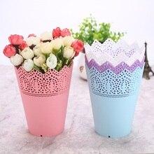 Пластиковый контейнер для пера кружева ваза для цветов горшок подставка держатель ваза для цветов кистей для макияжа держатель для хранения