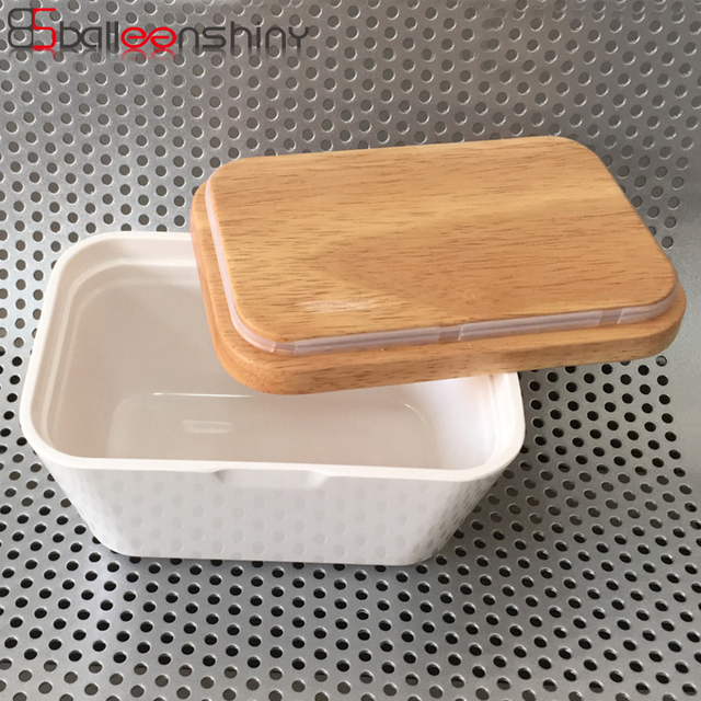 BalleenShiny Wooden Butter Box Dish Plate Food Storage Container