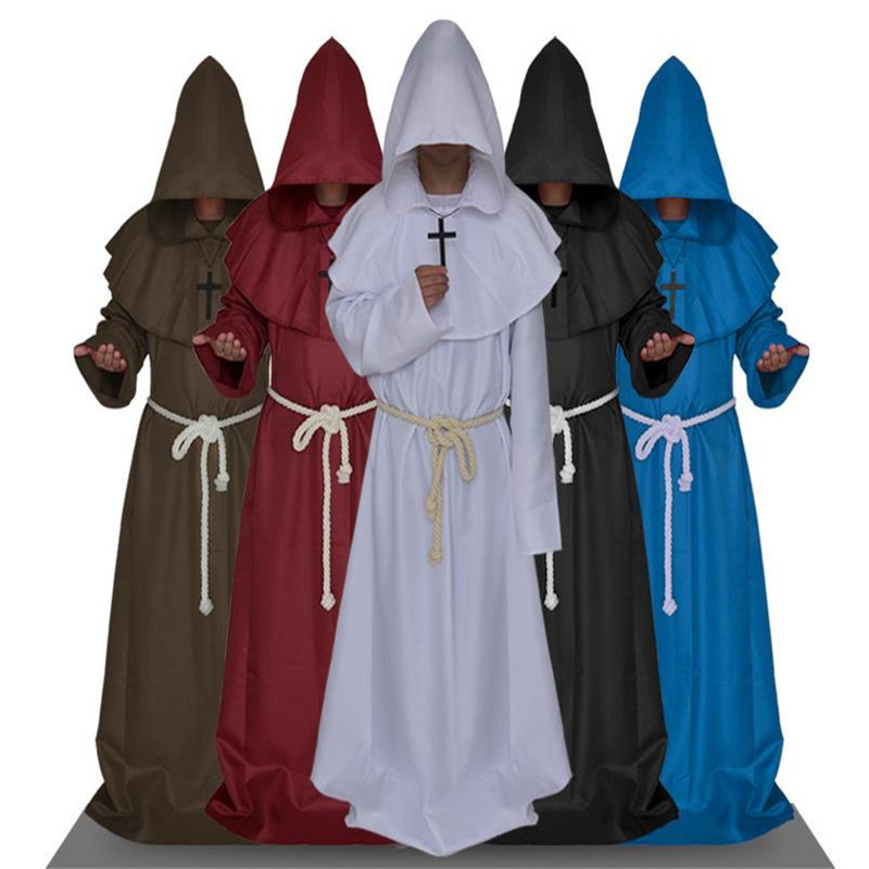 Unisex Monk Hooded Robes Cloak Cape Dark Sorcerer Robe Friar Medieval Renaissance Priest Cosplay Costume Halloween Witch Cosplay