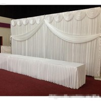 Express free shipping wedding stage white backdrops decoration romantic wedding curtain with swags,Photography Background Js68