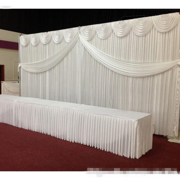 Express livraison gratuite scène de mariage décors blancs décoration romantique rideau de mariage avec swags, fond de photographie Js68