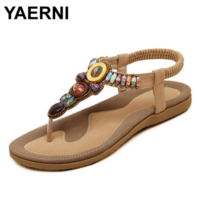 2a11a12d4ce YAERNI 2017 Woman Sandals Bead Bohemian Clip Toe Comfortable Thong Shoes  Boho Elastic Band Back Strap Flat Beach Shoes Plus Size