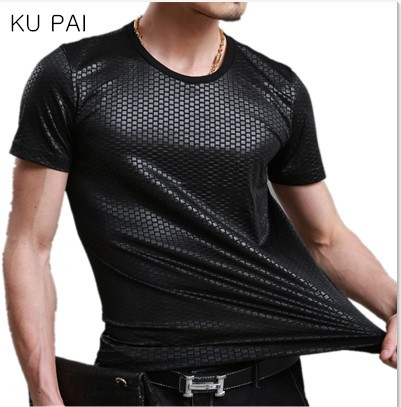 2018 new ice silk short-sleeved round neck solid color cotton large size mercerized cotton men's self-cultivation compassionate